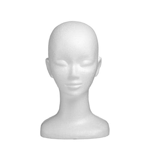 13''-L Female Wig Display Mannequin Head Stand Styrofoam Model Head Display Women's Hairpieces, Hats & Glasses Stand Manikin Head