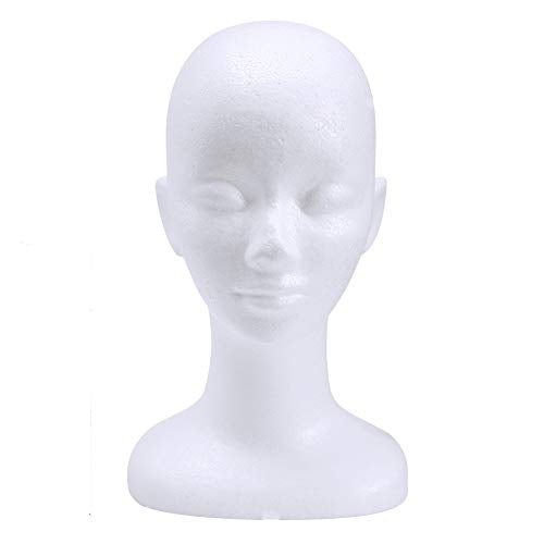 wreatrea 13 Inch Female Foam Mannequin Head, Styrofoam Wig Stand Model Head Display Women's Hairpieces, Hats, Masks, Glasses, Headbands
