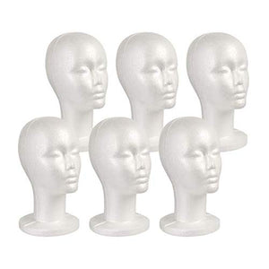 STUDIO LIMITED Styrofoam Mannequin Head, White Foam Wig Head Display with Wig Cap 2pcs (6 PACK)