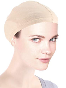 Turban Plus Cotton Wig Liner Cap Beige 2 pc Soft Comfy Breathable for Women Chemo Cancer