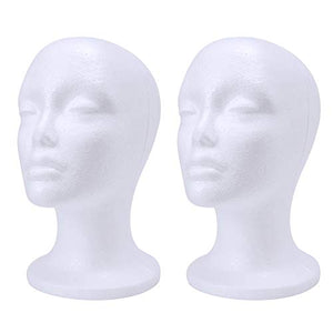 wreatrea 2 Pack Foam Wig Head - Female Styrofoam Mannequin Hairpieces Stand Holder Cosmetics Model Head Wig Display for Home, Salon and Travel (10.6-Inch H)