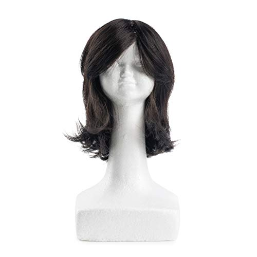 Teeny Dini Human Hair Doll's Wig- Wash, Style, Blow Dry Doll's Wigs, Just Like Mom Does | Toy Wigs for Girls - Also Includes Styrofoam Head for Sheitel Wigs (Dark Short Lub)
