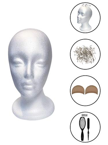 Styrofoam Mannequin Head for Wigs with Female Face (Including T-Pins, Detangling Hair Brush Combo & Natural Nude Wig Caps) Wig Making, Wig Styling & Display Mannequin Foam Head