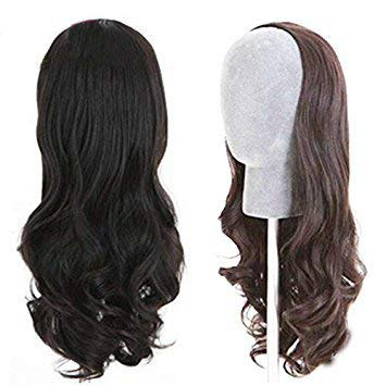 Human Hair Half Wigs Unprocessed Virgin Brazilian Hair 3/4 Half Wigs Human Hair Kosher None Lace Wigs with Combs or Clips (20inch, 1b)
