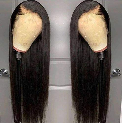 Andrai Hair Lace Front Wigs Straight Hair Glueless Lace Wigs Synthetic Long Silk Straight Natural Wig Heat Resistant Fiber Natural Black Hair Wig With Baby Hair For Black Women 24 Inch