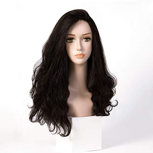 100% European Hair Small Layer Kosher Wig Silk Top 4X4 Sheitels Natural Black Wave Style 24 Inch In Stock