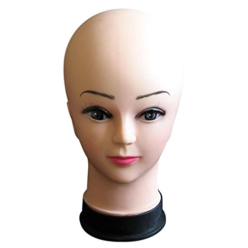 InKach Female Head -Women's Mannequin Head for Wigs Hat Holder Model Heads Stand Display (Beige)