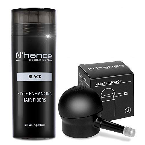 The Rich Barber N'Hance Hair Fibers & Applicator Pump Set | Natural Concealing Hair Thickening Fibers | Long-Lasting Spray with Accessory for Crisp Hairlines, A Thicker Beard & Styling (Black)