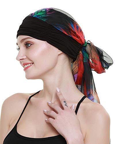 FocusCare Long Hair Accessories Turbans HeadScarfs Wig Headwear Party Bandana Travel Headcover Rainbow