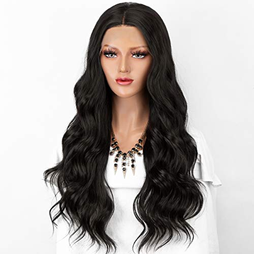 Persephone Wavy Lace Front Wigs for Women Glueless Black Synthetic Wig Natural Color Hair Heat Resistant 22 inch