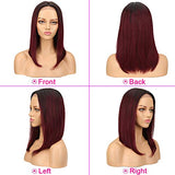 SPOTLIGHT Ombre Red Straight Human Hair Wigs 16 inch Lace Front Wigs with Baby Hair for Black Women Middle Part 100% Brazilian Virgin Remy Human Hair Ombre Red Wine Lace Front Wigs Human Hair TT1B/99J
