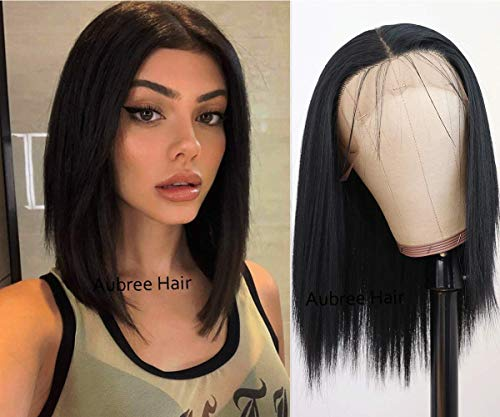 Aubree Hair Short Black Color Straight Hair Synthetic Lace Front Wigs Glueless Natural Hairline with Baby Hair Lace Front Wigs for Fashion Women