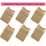 Moshina 12 Pack Breathable Stocking Nylon Wig Caps for Women Men(Neutral Nude Beige) Each Paper Board Contains 2 Wig Caps and 2 Portable Wig Stand Holder-Hairpieces Stable Display Tool