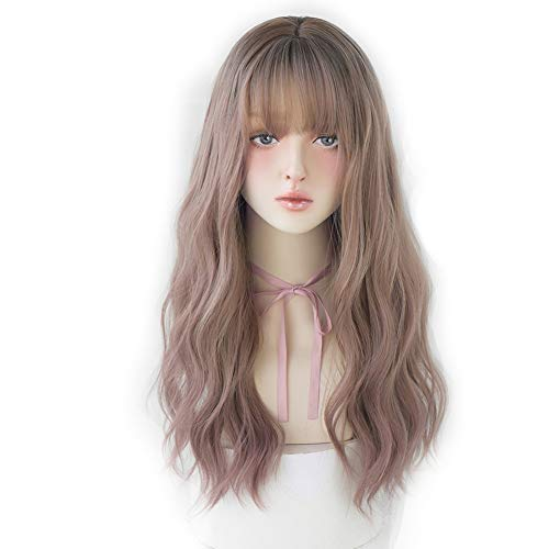 7JHH WIG Natural Long Wavy Curly Wig for Women Hair Dye Synthetic Full Wig With Bangs (22inch, Ash powder)