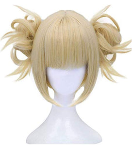 Anogol Hair Cap+613 Blonde Wigs Anime Cosplay Wigs Short Wavy Synthetic Hair With Bangs Fringe Hairstyles For Lonita Party