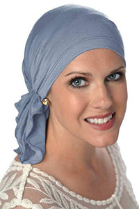 Slip-On Scarf- Caps for Women with Chemo Cancer Hair Loss Denim