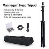 Reinforced Wig Stand Tripod Mannequin Head Stand, Adjustable Wig Head Stand Holder for Cosmetology Hairdressing Training with T-with Wig Caps, T-Pins, Comb, Hair Clip, Carrying Bag