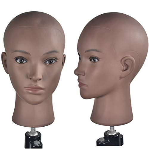 Afro Cosmetology Mannequin Head Bald Manikin head for Wigs Making Wig Display Hat Display Glasses Display with Free Clamp