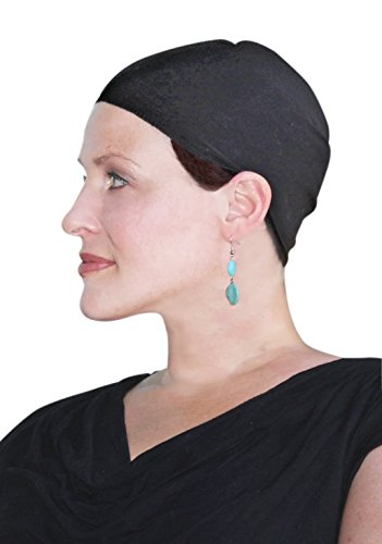 Cancer Headwear for Women Bamboo Wig Cap Hat Liner Chemo Moisture Wicking (Black)