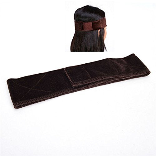 AKOAK 1 Piece Lace Girp Hair Band Wig Grip with Double Sided Velvet Adjustable Wig Hair Band Headband (Brown)