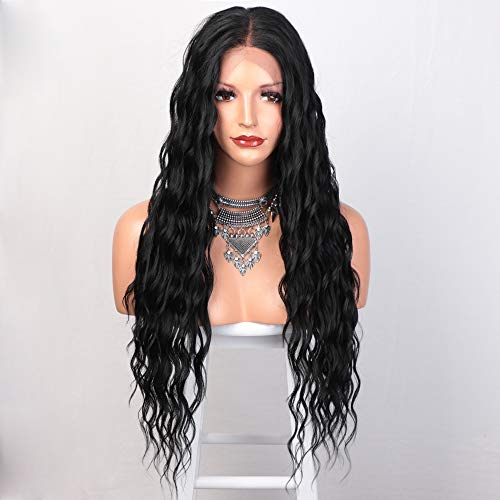 N-NAYASA Long Curly Lace Front Wigs for Women Loose Wave Black Wig 13x6 Deep Part Lace Wig Pre Plucked Synthetic Wigs for Dily Party Use