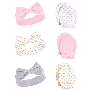 Hudson Baby Unisex Baby Cotton Headband and Scratch Mitten Set, Dots, 0-6 Months