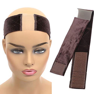 Xinxinshuyu New Lace Wig Grip Velvet Comfort Adjustable Elastic Wig Band for Lace Wigs and Frontal (Lace Wig Band, Brown)