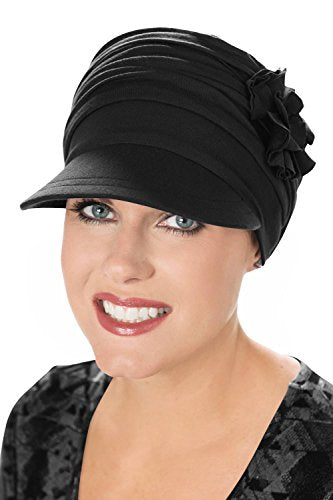 Bamboo Florette Newsboy-Caps for Women with Chemo Cancer Hair Loss Luxury Bamboo - Black