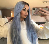 Sapphirewigs Daily Makeup Silk Straight Black Ombre Blue Heat Resistant Hair 150% Denstiy Cosplay Perruque Party Synthetic Lace Front Wigs for Women Present