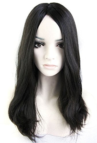Ms Fenda Virgin European Human Hair Natural Black Color Natural Straight Style Medium Cap Size 1piece/lot 4x4 Silk Base Jewish Wig Kosher Wig(20inch, Naturalblack)