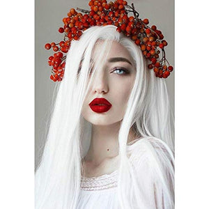Colorfulwigs Platinum White Wig Straight Glueless Synthetic Lace Front Wigs for White Women Heat Resistant Fiber Hair Long Cosplay Wig (24inch, Platinum White)