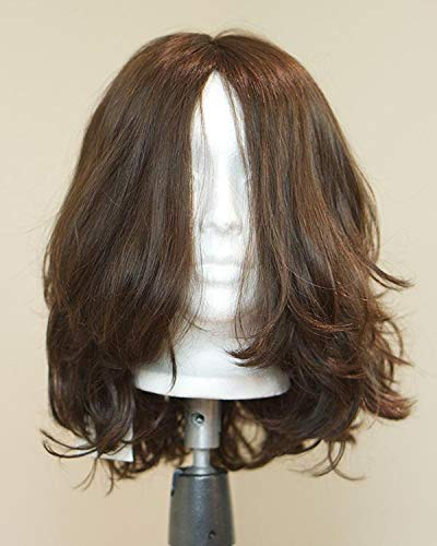 iVogue Human Hair Kosher Wig with Silk Base Soft Virgin European Human Hair Jewish Wigs Shevy Cap Remy Hair Wigs with Silk Top Natural Skin Base Wavy Layer(14inch, Natural Color)