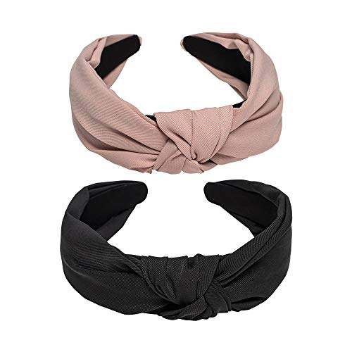 Ebow Hairbands Headbands Hair Bands Chiffon Wide Head Bands Knot Turban Headband Elastic Hair Band for Women and Girls, Black and Pink Chiffon Hairbands 2PCS Set (F)