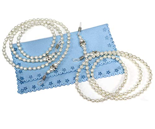 2 Pcs Fashion White Small Pearl Beaded Eyeglass Chain Sunglass Holder Strap Lanyard Necklace