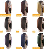Buladou Hair Natural Looking Yaki Straight Synthetic Bob Lace Front Wigs with Dark Roots Medium Length Ombre Bob Heat Resistant Fiber Wigs for Women 14inch (1B/JAZZPATTERN)