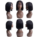 Short Bob Lace Front Human Hair Wigs For Black Women Remy Hair Straight Full End Lace Front Wigs With Baby Hair Natural Color,10Inches,150%