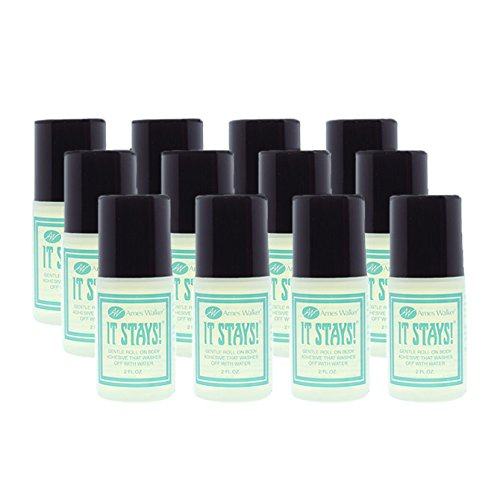 Ames Walker AW It Stays! Body Adhesive by The Case (12 Bottles) 2 oz. Roll on Body Glue Wig Bra Hosiery (Clothing) Glue