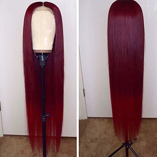 13x6 Burgundy Silk Straight Human Hair Wigs Glueless Lace Front Hair 150% Density Pre Plucked Hair for Black Women by Estelle Wig (14inch, 13x6 lace front wig)