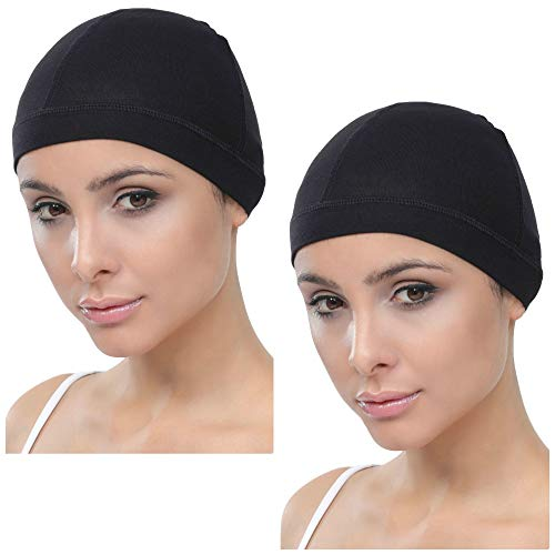 Deresina Bamboo Wig Cap for Hair Loss (2pcs) (Black)
