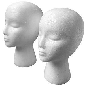 2 Pack Styrofoam Wig Head - Female Foam Mannequin Hairpieces Stand Cosmetics Model Head Wig Display for Home, Salon and Travel - 11''L