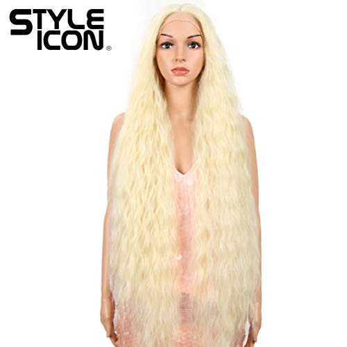 "Style Icon 41"" Lace Front Wigs Long Wavy Synthetic Wigs with Baby Hair Half Hand Tied 130% Density Wigs (41"