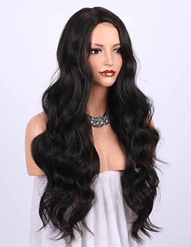 K'ryssma Dark Brown Synthetic Wigs for women - Natural Looking Long Wavy Right Side Parting NONE Lace Heat Resistant Replacement Wig Full Machine Made 24 inches (#2)