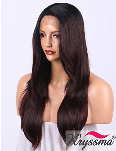 K'ryssma 99j Ombre Lace Front Wigs for Women Long Natural Straight Black to Burgundy Synthetic Wig with Deep Parting L Part Lace Wig 20 inches