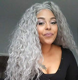 Candice Hair Synthetic Lace Front Wigs Long Loose Curly with Baby Hair Natural Hairline Heat Resistant Fiber Lace Wigs Swiss Natural Gray Wig For Black Women 180% Density 24 Inch 0906