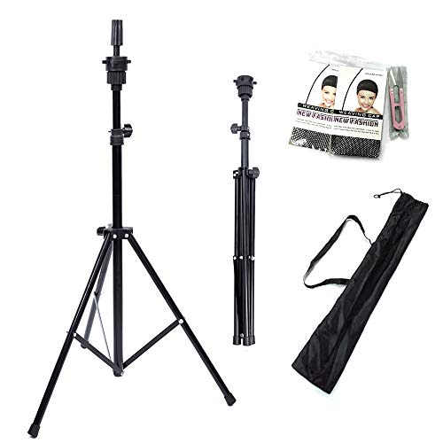 Lihui Wig Stand Tripod Adjustable Tripod Stand Tripod For Mannequin Head Tripod Stand Holder For Hairdressing (Black)