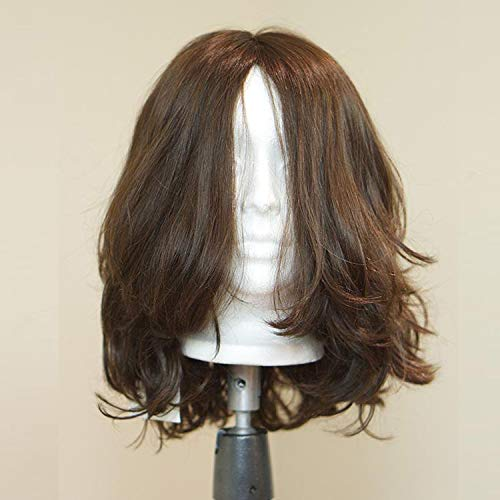 Short Wavy Kosher Wigs Raw Russian Human Hair Shevy Cap Jewish Wig with Silk Top Non Lace Wig (16inch)