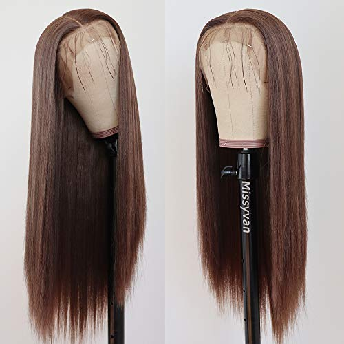 Missyvan 13X6 Lace Front Wig Straight Hair Brown Color 22