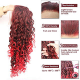 Ebingoo Red Mix Deep Brown Long Curly Lace Front Wig Free Part Synthetic Front Lace Wigs
