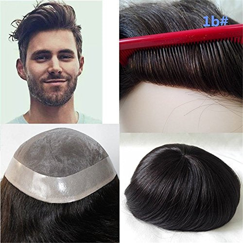 Lumeng Wigs For Men Hairpiece Mono Lace Systems Mens Toupee Size 8x10 Inch Color 1B Wigs Super Durable Lace Men Units