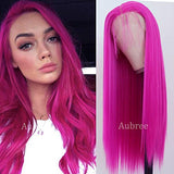 Aubree 13x6 Silky Striaght Synthetic Lace Front Wig Rose Red Long Synthetic Replacement Heat Resistant Wig For Fashion Women
